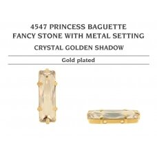 Swarovski 4547 Princess Baguette su detale 21x7mm Crystal Golden Shadow - Aukso padengimas