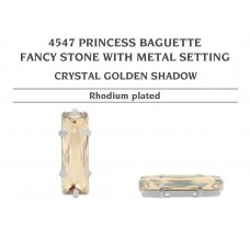 Swarovski 4547 Princess Baguette su detale 21x7mm Crystal Golden Shadow - Rodžio padengimas