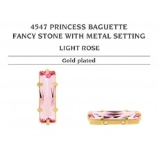 Swarovski 4547 Princess Baguette su detale 21x7mm Light Rose - Aukso padengimas