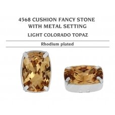 Swarovski 4568 Cushion su detale 8x6mm Light Colorado Topaz - Rodžio padengimas (4 vnt)