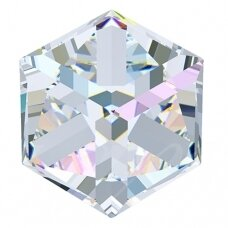 Swarovski 4841 Cube 4mm Crystal AB Comet Argent Light unfoiled (4 vnt)
