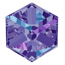 Swarovski 4841 Cube 6mm Crystal Heliotrope unfoiled (2 vnt)