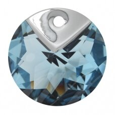 Swarovski 6566 Metallic Cap Round 16mm Aquamarine Light Chrome