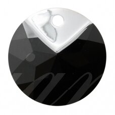 Swarovski 6566 Metallic Cap Round 19mm Jet Light Chrome