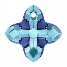 Swarovski 6868 Cross Tribe 14mm Aquamarine Metallic Blue
