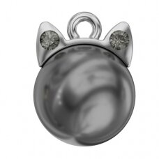 Swarovski BeCharmed Kitty Kat 11x8mm Black Diamond, Dark Grey