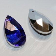 swl0001bbl-las-28x16 apie 28 x 16 mm, lašo forma, briaunuotas, skaidrus, tamsi, mėlyna spalva, pakabukas, 1 vnt.