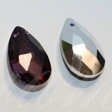 swl0204-las-22x13 apie 22 x 13 mm, lašo forma, briaunuotas, skaidrus, violetinė spalva, pakabukas, 1 vnt.