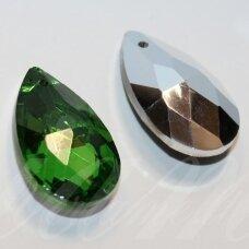swl0260-las-22x13 apie 22 x 13 mm, lašo forma, briaunuotas, skaidrus, žalia spalva, pakabukas, 1 vnt.