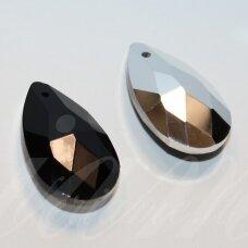 swl0280-las-28x16 apie 28 x 16 mm, lašo forma, briaunuotas, juoda spalva, pakabukas, 1 vnt.