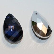 SWL0288-LAS-22x13 apie 22 x 13 mm, lašo forma, briaunuotas, skaidrus, tamsi, mėlyna spalva, pakabukas, 1 vnt.