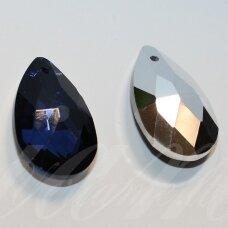 swl0288-las-28x16 apie 28 x 16 mm, lašo forma, briaunuotas, skaidrus, tamsi, mėlyna spalva, pakabukas, 1 vnt.