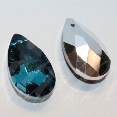 SWL0379-LAS-22x13 apie 22 x 13 mm, lašo forma, briaunuotas, skaidrus, mėlyna spalva, pakabukas, 1 vnt.