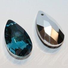 swl0379-las-28x16 apie 28 x 16 mm, lašo forma, briaunuotas, skaidrus, mėlyna spalva, pakabukas, 1 vnt.