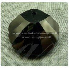 swp0002-kr-18x18x7 apie 18 x 18 x 7 mm, kriauklių forma, juoda spalva, pakabukas, 1 vnt.