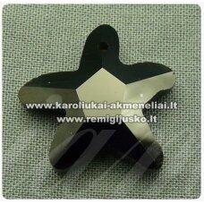 SWP0002-ZVAI-20x21x7 apie 20 x 21 x 7 mm, žvaigždės forma, juoda spalva, pakabukas, 1 vnt.