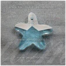 SWP0003-ZVAI-20x21x7 apie 20 x 21 x 7 mm, žvaigždės forma, skaidrus, žydra spalva, pakabukas, 1 vnt.