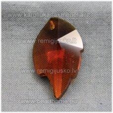 swp0007-lap-25x16x7 apie 25 x 16 x 8 mm, lapelio forma, skaidrus, tamsi, ruda spalva, pakabukas, 1 vnt.