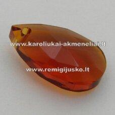 swp0007-las-38x22x13 apie 38 x 22 x 13 mm, lašo forma, skaidrus, tamsi, ruda spalva, pakabukas, 1 vnt.