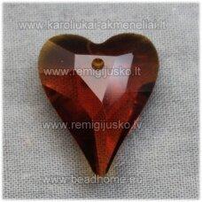 swp0007-sird-21x17x8 apie 21 x 17 x 8 mm, širdutės forma, skaidrus, tamsi, ruda spalva, pakabukas, 1 vnt.