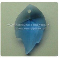 swp0009-lap-25x16x7 apie 25 x 16 x 7 mm, lapelio forma, skaidrus, mėlyna spalva, pakabukas, 1 vnt.