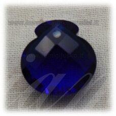 SWP0010-1KT-16x17x10 apie 16 x 17 x 10 mm, briaunuotas, skaidrus, karališko mėlynumo spalva, pakabukas, 1 vnt.