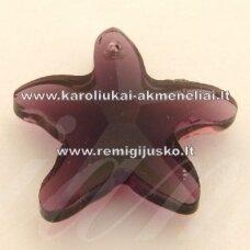 SWP0014-ZVAI-20x21x7 apie 20 x 21 x 7 mm, žvaigždės forma, skaidrus, alyvinė spalva, pakabukas, 1 vnt.