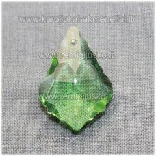 swp0016-bar-22x15x8 apie 22 x 15 x 8 mm, baroko forma, skaidrus, žalia spalva, pakabukas, 1 vnt.