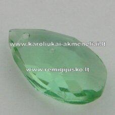 swp0016-las-16x9x6 apie 16 x 9 x 6 mm, lašo forma, skaidrus, žalia spalva, pakabukas, 1 vnt.