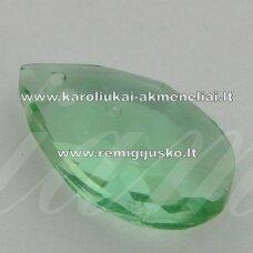 SWP0016-LAS-22x13x8 apie 22 x 13 x 8 mm, lašo forma, skaidrus, žalia spalva, pakabukas, 1 vnt.