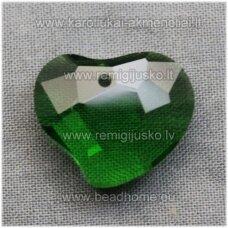 swp0018-sird-16x19x8 apie 16 x 19 x 8 mm, širdutės forma, skaidrus, tamsi, žalia spalva, pakabukas, 1 vnt.