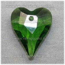 swp0018-sird-21x18x8 apie 21 x 18 x 8 mm, širdutės forma, skaidrus, tamsi, žalia spalva, pakabukas, 1 vnt.