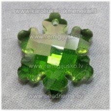 swp0018-snai-20x18x7 apie 20 x 18 x 7 mm, snaigės forma, skaidrus, tamsi, žalia spalva, pakabukas, 1 vnt.