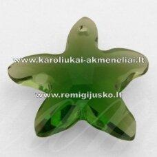 swp0018-zvai-20x21x7 apie 20 x 21 x 7 mm, žvaigždės forma, skaidrus, tamsi, žalia spalva, pakabukas, 1 vnt.