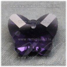 swp0020-drug-14x17x7 apie 14 x 17 x 7 mm, drugelio forma, skaidrus, šviesi, violetinė spalva, pakabukas, 1 vnt.