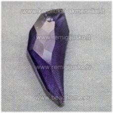 SWP0020-ILT-29x12x7 apie 29 x 12 x 7 mm, ilties forma, skaidrus, šviesi, violetinė spalva, pakabukas, 1 vnt.