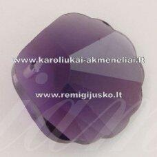 SWP0020-KR-18x18x7 apie 18 x 18 x 7 mm, kriauklių forma, skaidrus, šviesi,  violetinė spalva, pakabukas, 1 vnt.