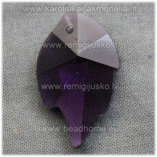 swp0020-lap-25x16x7 apie 25 x 16 x 8 mm, lapelio forma, skaidrus, šviesi, violetinė spalva, pakabukas, 1 vnt.
