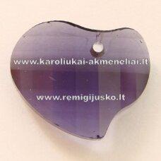 swp0020-sird-16x20x6 apie 16 x 20 x 6 mm, širdutės forma, skaidrus, šviesi, violetinė spalva, pakabukas, 1 vnt.