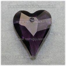 swp0020-sird-21x18x8 apie 21 x 18 x 8 mm, širdutės forma, skaidrus, šviesi, violetinė spalva, pakabukas, 1 vnt.