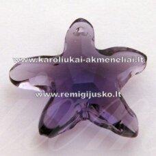 swp0020-zvai-20x21x7 apie 20 x 21 x 7 mm, žvaigždės forma, skaidrus, šviesi, violetinė spalva, pakabukas, 1 vnt.