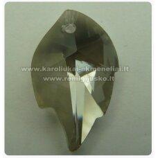 swp0024-lap-25x16x7 apie 25 x 16 x 7 mm, lapelio forma, skaidrus, dūmo spalva, pakabukas, 1 vnt.