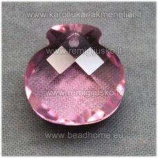 SWP0028-1KT-17x16x10 apie 17 x 16 x 10 mm, skaidrus, rožinė spalva, pakabukas, 1 vnt.