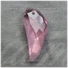 SWP0028-ILT-29x12x7 apie 29 x 12 x 7 mm, ilties forma, skaidrus, rožinė spalva, pakabukas, 1 vnt.