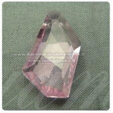 swp0028-kit-24x14x7 apie 24 x 14 x 7 mm, netaisyklinga forma, skaidrus, rožinė spalva, pakabukas, 1 vnt.