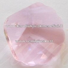 SWP0028-KR-18x18x7 apie 18 x 18 x 7 mm, kriauklių forma, skaidrus, rožinė spalva, pakabukas, 1 vnt.
