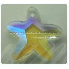swp0029-zvai-20x21x7 apie 20 x 21 x 7 mm, žvaigždės forma, skaidrus, ab danga, pakabukas, 1 vnt.