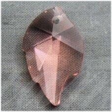 swp0036-lap-25x16x7 apie 25 x 16 x 8 mm, lapelio forma, skaidrus, persikinė spalva, pakabukas, 1 vnt.