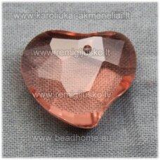 swp0036-sird-16x19x7 apie 16 x 19 x 7 mm, širdutės forma, skaidrus, persikinė spalva, pakabukas, 1 vnt.