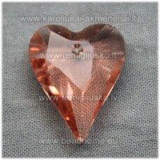 swp0036-sird-21x18x8 apie 21 x 18 x 8 mm, širdutės forma, skaidrus, persikinė spalva, pakabukas, 1 vnt.